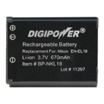 Digipower BP NKL19 - Camera battery Li-Ion 670 mAh - for Nikon Coolpix A100, A300, S2900, S32, S33, S3700, S5300, S6700, S6800, S6900, S7000, W100