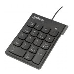 Numeric Wired Keypad - USB, Wired, 18 Full-Size Keys, Black