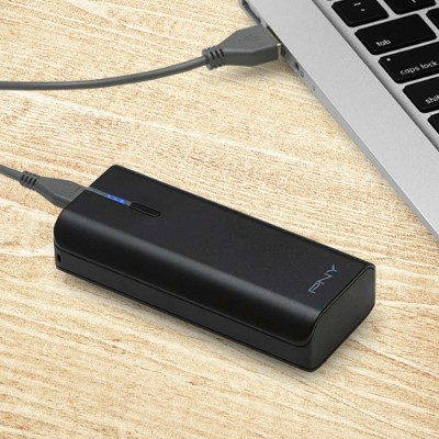 PNYPowerPack T4400 1A 4400mAh Portable Rechargeable Battery for iPhone & Smartphones - Black - Charge smartphones two times with one ...