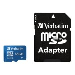 Verbatim Flash memory card ( microSDHC to SD adapter included ) - 16 GB - Class 10 - microSDHC UHS-I 44043