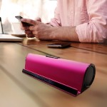Wireless Bluetooth Speaker With iPhone/iPad Stand - Aluminum Alloy Case - Pink