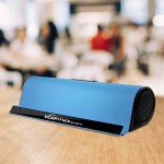 Wireless Bluetooth Speaker With iPhone/iPad Stand - Aluminum Alloy Case - Blue