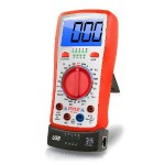 Digital Backlit LCD Multimeter, AC, DC, Volt, Current, Resistance, Transistor and Range Measurement with Protective Rubber Case