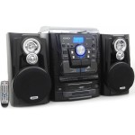 Jensen Bluetooth 3-Speed Stereo Turntable 3 CD Changer Music System with Dual Cassette Deck and Remote Control