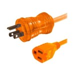 25ft 16AWG Hospital Grade Power Extension Cable (NEMA 5-15P to NEMA 5-15R) - Orange - Power extension cable - NEMA 5-15 (F) to NEMA 5-15 (M) - AC 300 V - 25 ft - orange
