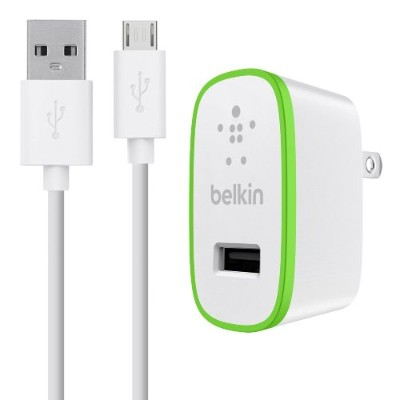 Belkin Universal Home Charger with Micro USB ChargeSync Cable (10 Watt/ 2.1 Amp) - White (F8M667TT04-WHT)