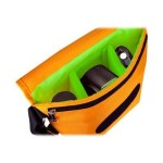 B-Colors - Shoulder bag for digital photo camera with lenses - 1680D nylon - green, orange