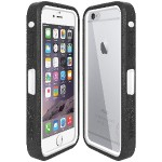 CRUSTA Rugged Case Black on White Shell Tempered Glass with Holster for iPhone 6 Plus - Silver / Gold  Finish