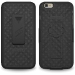 Amzer Shellster with Kickstand - Back cover for cell phone - polycarbonate - black - for Apple iPhone 6s Plus & iPhone 6 Plus AMZ97337