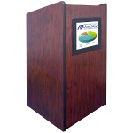 Visionary Multimedia Lectern with Built-In LCD Screen - Non Sound, Mahogany