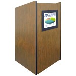 Visionary Multimedia Lectern with Built-In LCD Screen - Non Sound, Medium Oak
