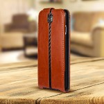 MarBlue Flip - Flip cover for cell phone - synthetic leather, polycarbonate - carbon fiber, JagFolio brown - for Apple iPhone 6 A6JF416