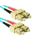 SC to SC 50/125 10G Aqua Multimode Duplex 5 Meter Fiber Cable