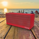 iHome NFC Bluetooth Rechargeable Stereo Mini Speaker in Rubberized Finish - Red IBN27RX