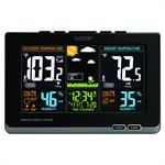 Wireless Atomic Digital Color Weather Forecast Station with Alerts - Black