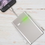 Aluminum Smart Battery Pack 6000 mAh for iPad or iPhone - Integrated Lightning & USB Cables - Apple Certified MFI Li-Poly Batt - 5 stage LED - Silver color matches Macbook Pro - German QC; 30 month warranty
