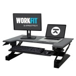 "WorkFit-T Sit-Stand Desktop Workstation - Stand for LCD display / keyboard / mouse / notebook - black - screen size: up to 30"" - table mount"