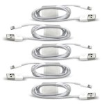 5-Pack Of Lightning to USB 3.0/2.0 Charge/Sync Cables (1m - 3.3ft) - White