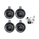 4 Channel Waterproof Bluetooth Wakeboard 4'' UTV/ATV/Snowmobile/Marine Amplified Speaker System - Pair