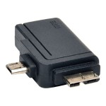 2-in-1 OTG Adapter, USB 3.0 Micro B Male and USB 2.0 Micro B Male to USB A Female