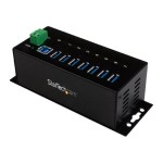 7 Port Industrial USB 3.0 Hub - 15kV ESD Protection - DIN Rail and Surface Mountable Metal Housing