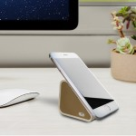 Compact Bluetooth Speaker and Mobile Stand - White with Gold