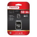 Gigastone 32GB Class 10 UHS-1 microSDHC Card & SD Adapter