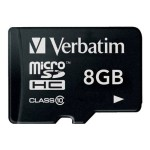 Verbatim Flash memory card ( microSDHC to SD adapter included ) - 8 GB - Class 10 - microSDHC 44081