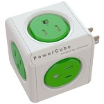 Allocacoc PowerCube Original, 5 Outlet Wall Adapter Power Strip with 5 outlets and Resettable Fuse - Kelly Green 4100/USORPC