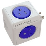 PowerCube Original USB, Electric Outlet Wall Adapter Power Strip with 4 outlets, Dual USB Port and Resettable Fuse - Cobalt Blue