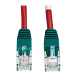 TrippLite 10ft Cat5e Cat5 Molded Crossover Patch Cable RJ45 M/M Red N010-010-RD