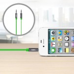 MIXIT Aux Cable - Audio cable - stereo mini jack (M) to stereo mini jack (M) - 3 ft - green - flat - for Apple iPhone 3G, 3GS, 4, 4S, 5; iPod classic; iPod nano; iPod shuffle; iPod touch
