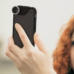 4-IN-1 Lens for iPhone 6S Plus & 6 Plus Fisheye-Wide Angle-2 Macros Silver/Black lens Smoke/Black Flip Case