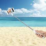 Compact & Foldable Selfie Stick with Built-in Bluetooth Shutter for Smartphones - White