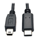 USB 2.0 Hi-Speed Cable, USB 5-Pin Mini-B Male to USB Type-C (USB-C) Male, 6-ft.