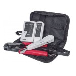 4pc Network Tool Kit Composed of LAN Tester, LSA punch down tool, Crimping Tool and Cutter/Stripper Tool