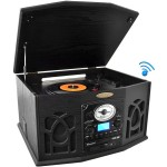 Bluetooth Retro Vintage Classic Style Turntable Vinyl Record Player with Vinyl-to-MP3 Recording - Black