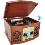 Bluetooth Retro Vintage Classic Style Turntable Vinyl Record Player with Vinyl-to-MP3 Recording - Brown