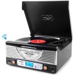 Pyle Retro Vintage Classic Style Bluetooth Turntable Vinyl Record Player with USB/MP3 Computer Recording (Black) PTR8UBTBK