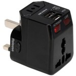 QVS Premium World Travel Power Adaptor with Surge Protection & 2.1A Dual-USB Charger PA-C4BK