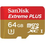 Sandisk Extreme PLUS - Flash memory card ( microSDXC to SD adapter included ) - 64 GB - UHS Class 3 / Class10 - microSDXC UHS-I SDSQXSG-064G-ANCMA