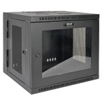 SmartRack 10U Vertical Hinged Wall-Mount Standard-Depth Rack Enclosure Cabinet, Plexiglass Front Door Insert