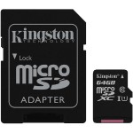 Kingston Digital 64GB microSDXC Class 10 UHS-I 45MB/s Read Card + SD Adapter SDC10G2/64GB