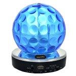 Bluetooth Speaker & Mic with Disco Ball - Multiple Inputs & Rechargable Li-Ion Battery - Blue