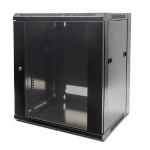 """19"""" 12U 635 (h) x 570 (w) x 450 (d) mm Flatpack Wallmount Cabinet - Black"""