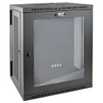 15U Wall Mount Rack Enclosure Cabinet Wallmount Hinged Clear Acrylic Window 200lb Cap