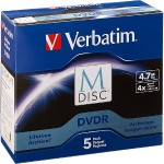 Verbatim M-Disc DVDR 4.7GB 4X with Branded Surface – 5PK Jewel Case Box 98899