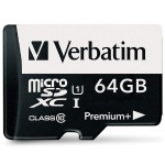 Verbatim 64GB PremiumPlus 533X microSDXC Memory Card with Adapter, UHS-I Class 10 98742