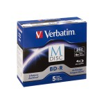 Verbatim M-Disc BD-R 25GB 4X with Branded Surface – 5pk Jewel Case Box 98900