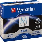 Verbatim M-Disc BDXL 100GB 4X with Branded Surface – 5pk Jewel Case Box 98913